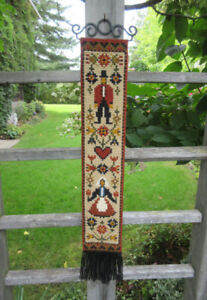 Bargello Needlepoint AMISH Man & Woman Wall Hanging