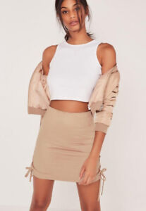 *BRAND NEW* MISSGUIDED faux suede lace up side mini skirt