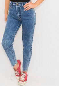 WOW LOOK High Waist Acid Wash Blue Denim tapered skinny Jeans