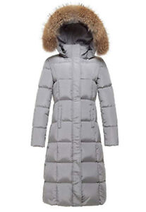 Women's Winter Long Down Filled Coat Parka With Real Fur Hood XL