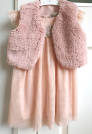12-18month Next Girls Pink Party Dress with M&Co faux fur bolero