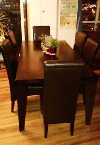 Must Sell - Elegant Dark Wood Dining Set with Side Cabinet