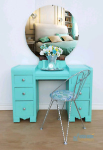 Refinished Vintage Art Deco Vanity with chair