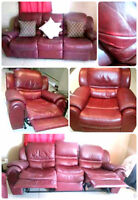 MUST GO TODAY.Reduced to sell. Leather couch and recliner set
