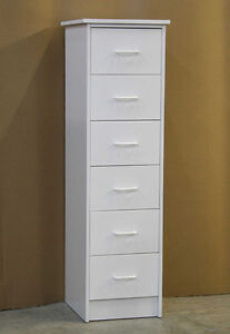 White 6 Drawer Skinny Dresser Chest **Brand New**