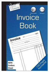 Full-Size-A5-Invoice-Duplicate-Receipt-Book-Numbered-Cash-1-100-Pages-Pad-NEW