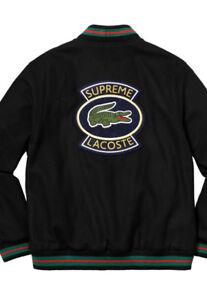 supreme x lacoste wool varsity jacket black
