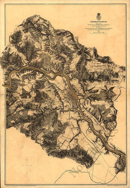 Map of Fredericksburg Virginia c1867 24x34