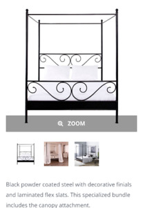 For sale double canopy bed with mattress