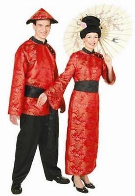 Sexy Geisha Japan Chinesin Chinese Chinesen Kleid Kostüm Kimono Herren Damen Hut