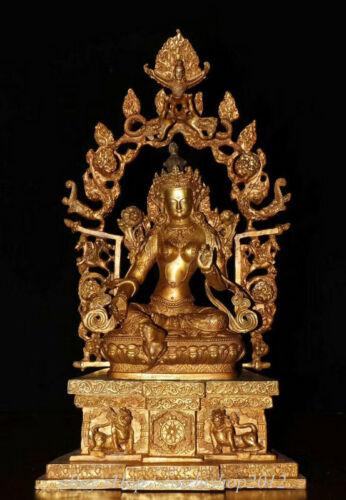 Antique Tibet Bronze Gilt Buddhism Green Tara Goddess Buddha Backlight Statue