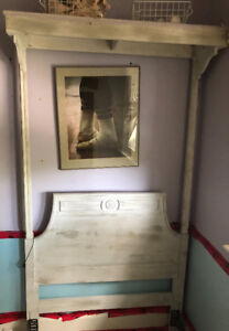 Antique (white-washed) bedframe and corresponding mirror.