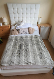 Small white Faux leather double bed