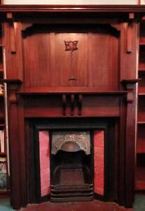 Antique fireplace with wooden mantlepiece Fitzroy North Yarra Area Preview