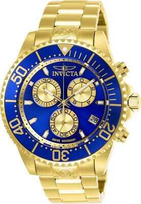 Invicta 26849 Pro Diver Men's 47mm Chronograph Gold-Tone Steel Blue Dial Watch