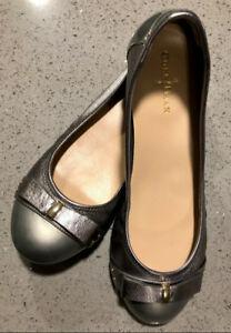 Cole Hann Bow Ballet / flat silver shoes with Nike sole - NEW