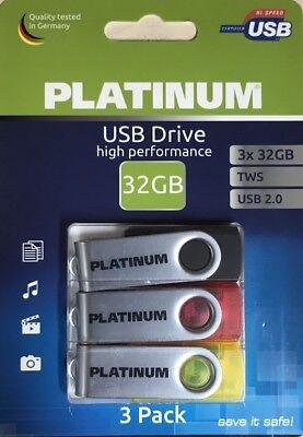 Platinum TWS USB-Stick 32 GB  USB 2.0 3er Pack