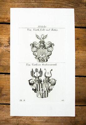 1826 Wappen Adelige von Voith zu Gerbersreuth Kupferstich Tyroff