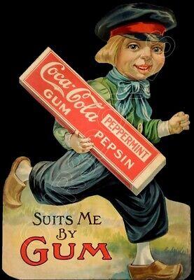 1915 Coca-Cola Gum Die Cut Store Counter Standup Sign Dutch Boy Coke Repro