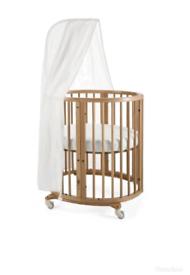Stokke Cot Crib Mini Sleepi and cot with drape natural colour.