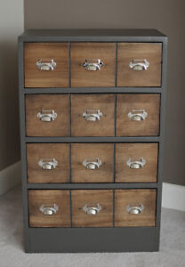 Small Solid Wood Card Catalog Dresser