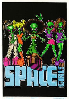 POSTER : COMICAL :ALIENS - SPACE GIRLS - BLACK LIGHT & FLOCKED    #838    RC14 G