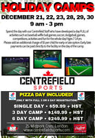 HOLIDAY SPORTS CAMPS indoors at Centrefield Sports!