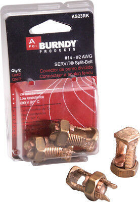 New Burndy Servit Split Bolt Connector 14-2 Awg 2-pack Ks23rk
