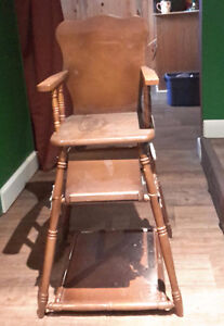 Fold down solid wood antique high chair