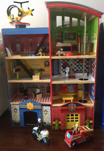 Kidkraft hometown heroes fire and police station play house toys