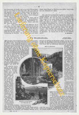 """Brocken """"Die Brockenbahn"""" Eisenbahn-Bahnhof. Original Holzstich erschienen 1899"""