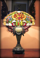Beautiful tall stained glass lamp.