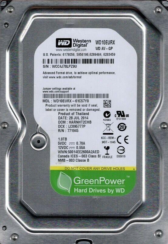 Western Digital AV-GP 1TB, SATA III, 3,5 Zoll Interne Festplatte Green Power