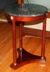 Wood Side Table w/ Marble Top