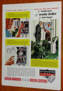 1953 CUTLER HAMMER ELECTRIC MOTOR CONTROLS VINTAGE AD - ANONCE