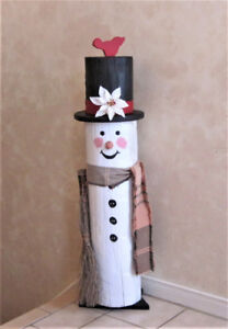 """Snowman Porch Greeter Made From a Wood Log 38"""" Tall"""