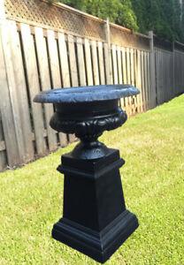 Variety Outdoor Antique CAST IRON URNS Garden Planters  Bench