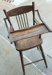 2 Antique wooden high chair s (great photo props) $ 25 each