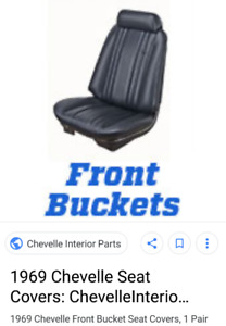 1969 chevelle seat covers black new buckets