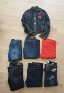6 pairs of skinny jeans, size 0, jeans jacket size S