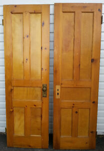 Pair of ANTIQUE PINE VICTORIAN DOORS OLD LOT DECOR