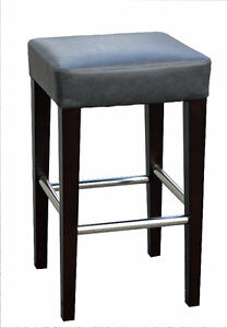 Backless Leather Counter Stool in Grey or Brown