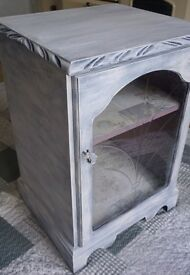 White Vintage Drinks Cabinet Table TV Stand Shabby Chic