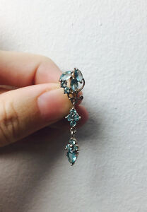 BARBELL SILVER REVERSED PIERCING AQUAMARINE belly button
