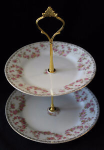 NORITAKE 2 TIERED CAKE STAND