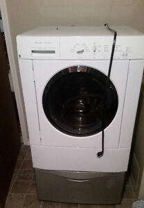 Frigidaire front load washer and dryer with bases