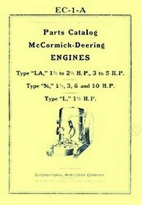 International Mccormick Type L La M 1.5 3 6 10 Hp Hit Miss Engine Parts Manual