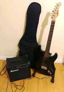 Electric guitar with amp & case