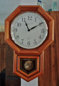 Sterling and Noble Oak Schoolhouse Wall Clock, with Pendulum - B