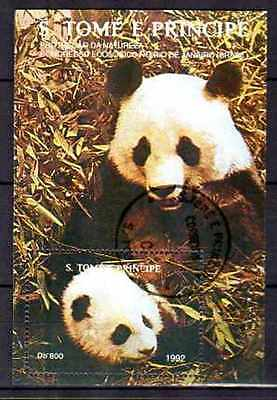 Animals Pandas Saint Thomas Prince 1992 (52) Bloc Yvert N°127 Obliterated Used